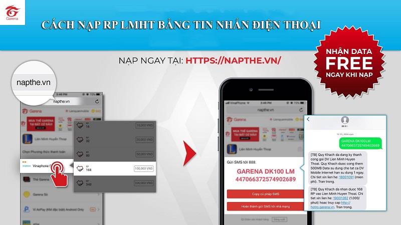 Cách nạp RP Liên Minh Huyền Thoại bằng SMS Viettel, Mobifone, Vinaphone